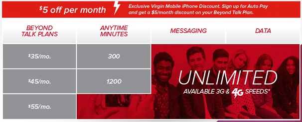 virgin mobile pricing chart