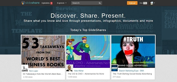 slideshare homepage featured