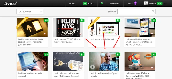 On the Homepage of Fiverr