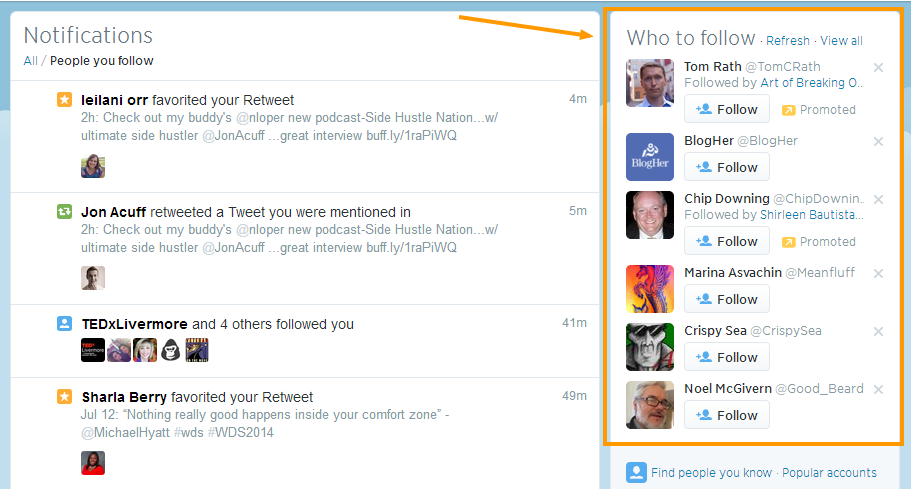Twitter suggestions who to follow