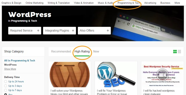 fiverr gigs for wordpress