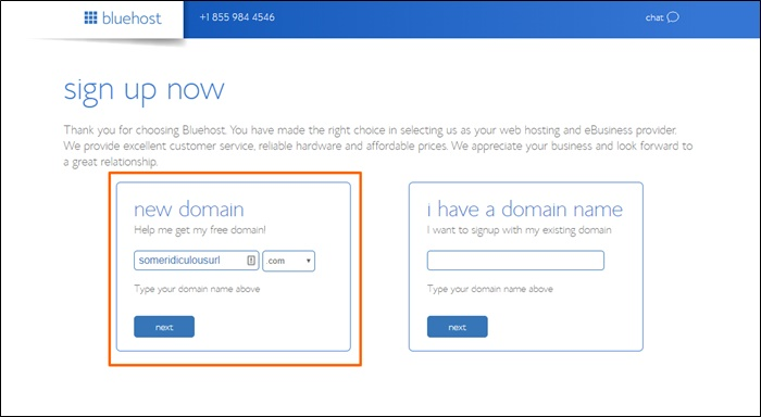 get a free domain name at bluehost