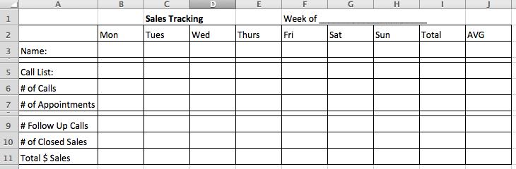 sales tracking worksheet