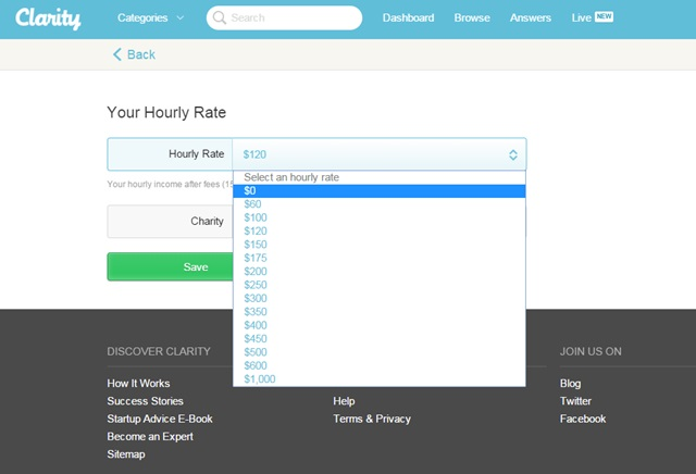 clarity set hourly rate