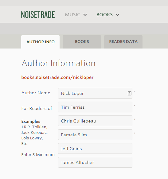 noisetrade similar authors