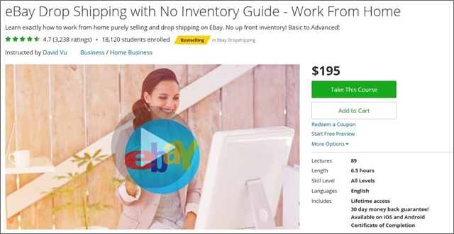 ebay drop shipping guide with no inventory work from home