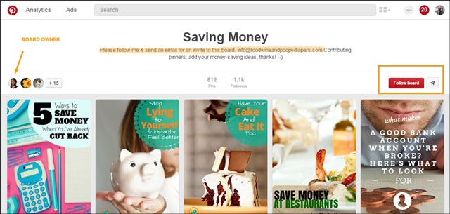 saving money board example