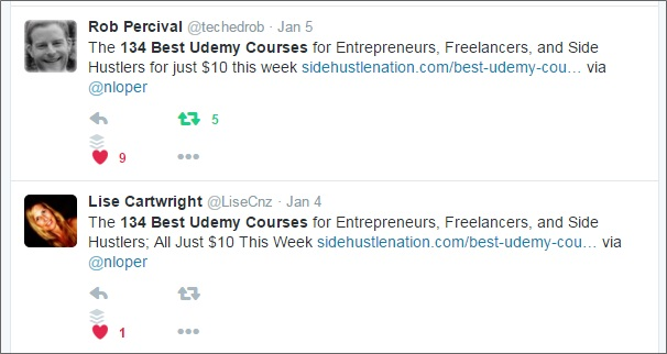 udemy post tweets