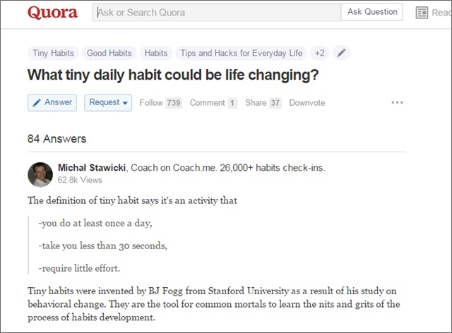 quora life changing habits