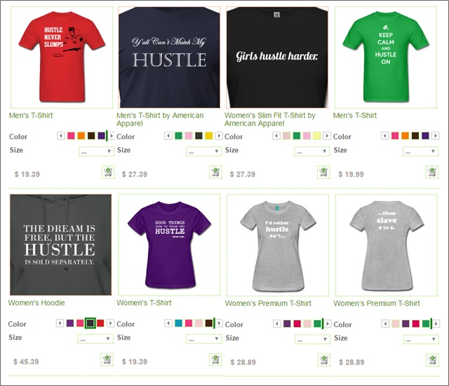 hustle spreadshirt designs