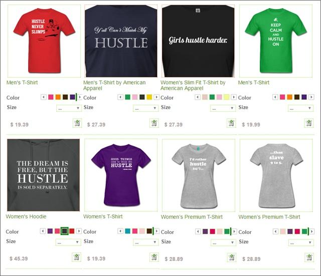 hustle spreadshirt designs