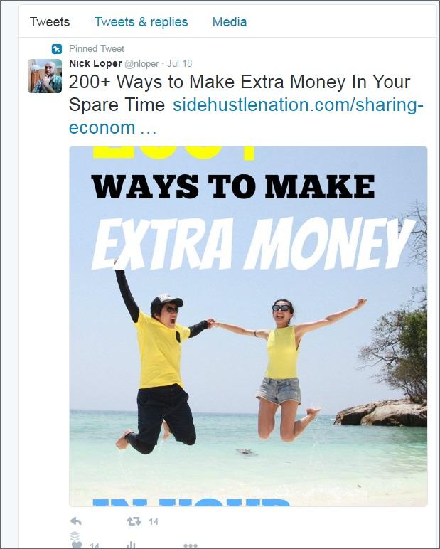 pinned tweet sharing economy