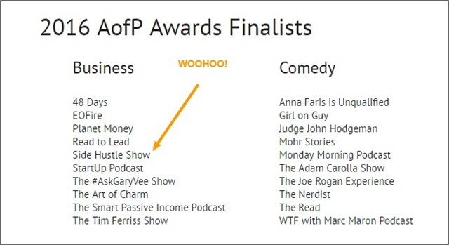 podcast awards nomination 2016