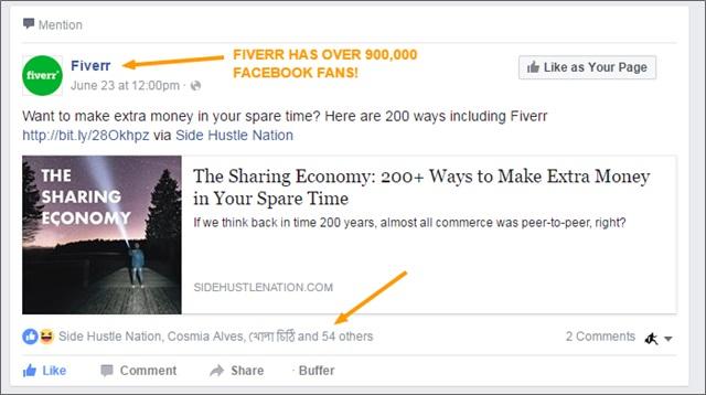 sharing economy fb post fiverr