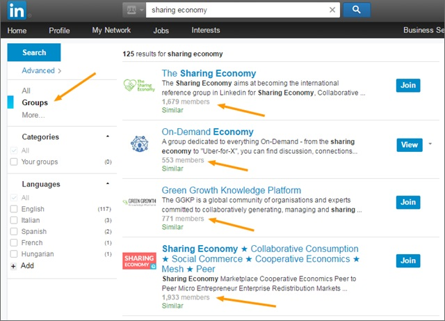 sharing economy groups on linkedin