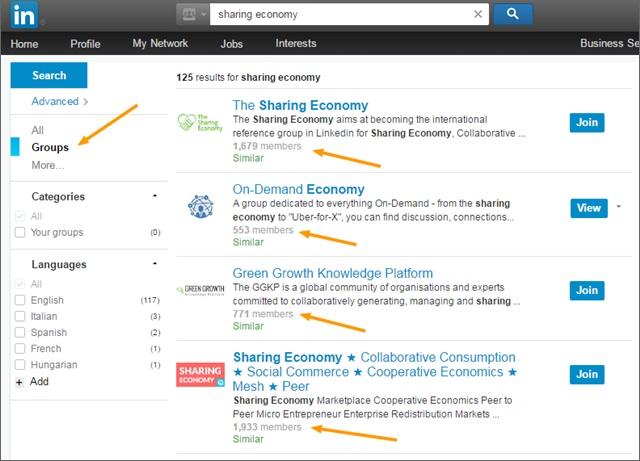 sharing economy groups on linkedin
