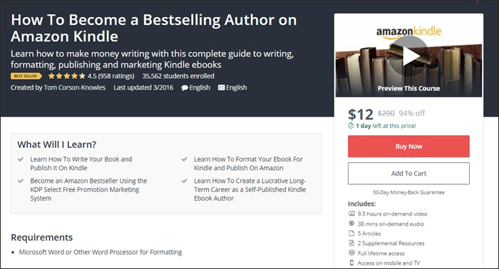 The 134 best udemy courses for entrepreneurs freelancers and side how to become a bestselling author on amazon kindle fandeluxe Image collections
