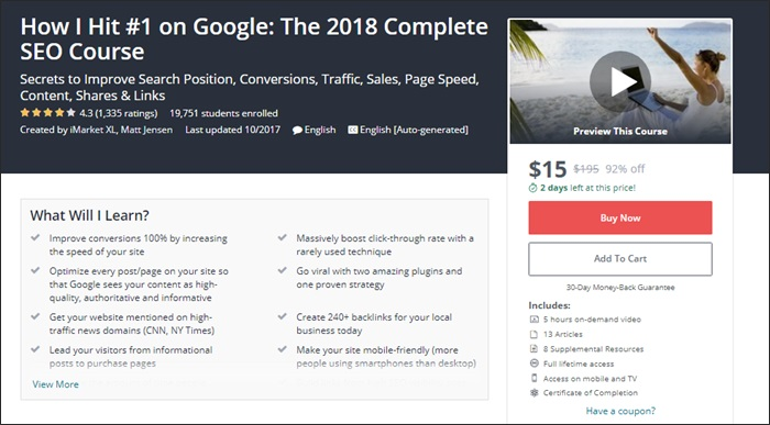 The 134 best udemy courses for entrepreneurs freelancers and side 4 how i hit 1 on google the 2018 complete seo course fandeluxe Image collections