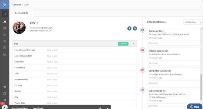 activecampaign contact view