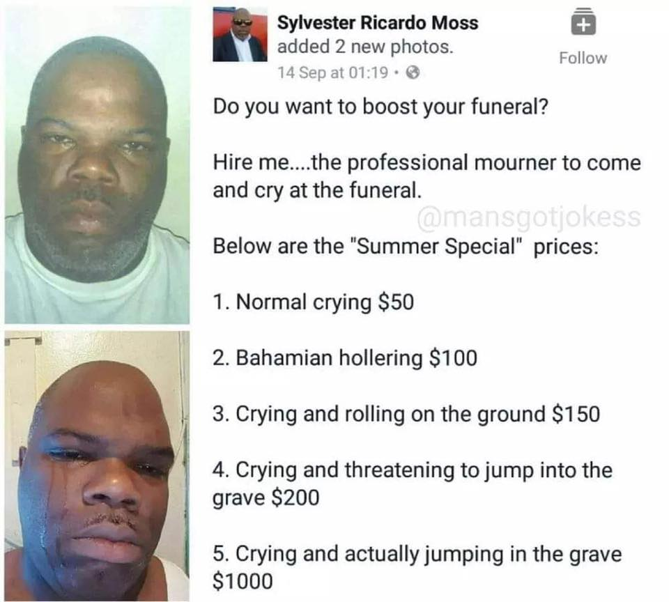 viral funeral cryer