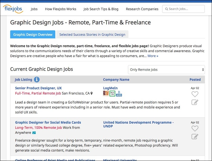 flexjobs graphic design jobs
