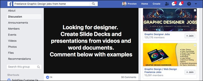 freelance graphic design jobs facebook group