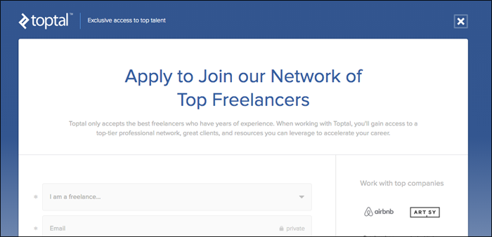 join toptal as a freelancer