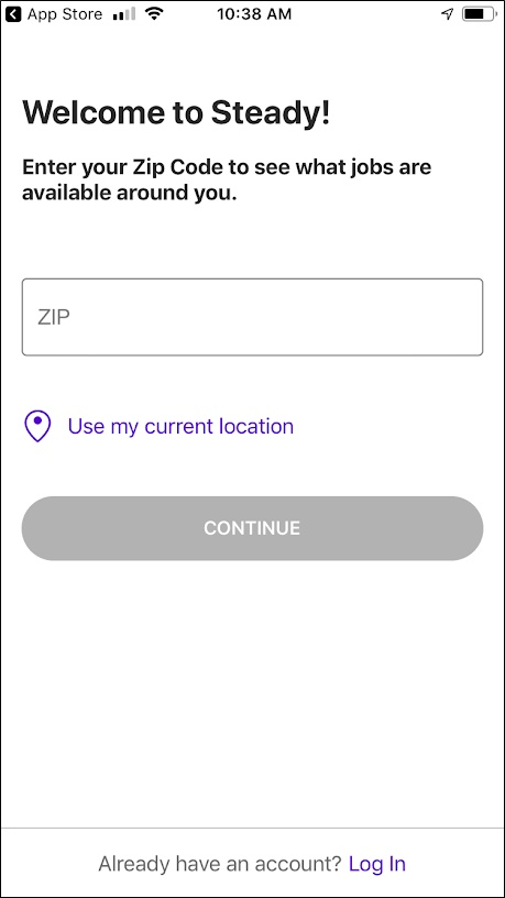 welcome to steady - location prompt