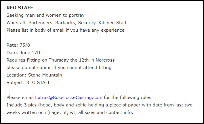 Movie Casting Call for movie extra job Example