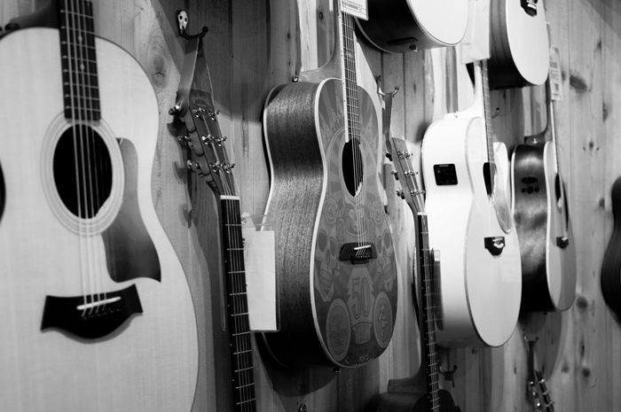 guitars on wall