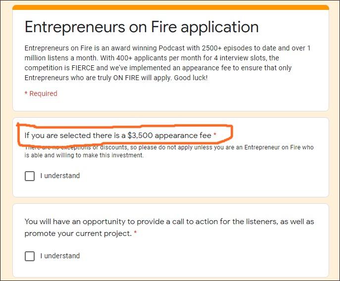 eofire appearance fee