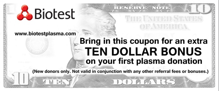 plasma donation coupon