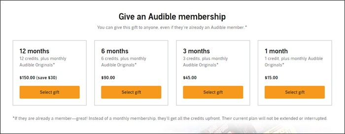 give an audible membership