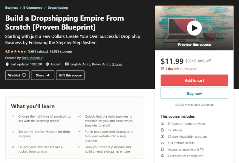 dropshipping course on udemy