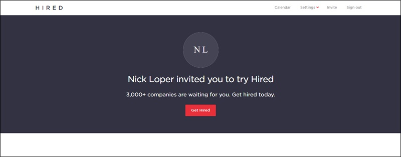 hired homepage