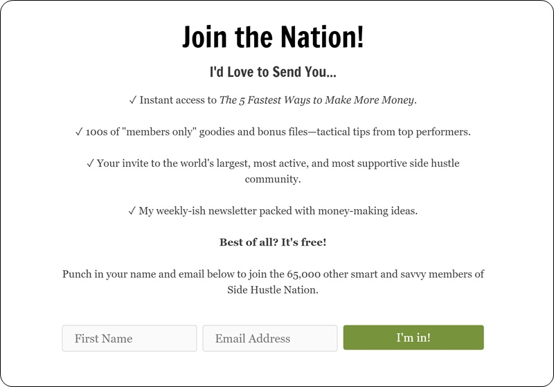 new side hustle nation join page