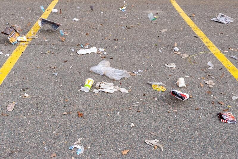 parking lot garbage