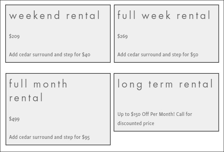 hot tub rental pricing